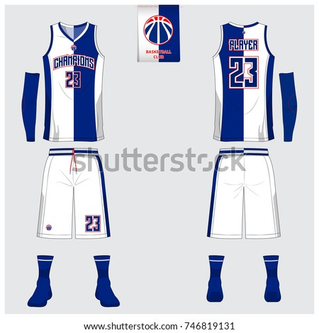 9c4cea1a2137 Basketball jersey template design. Blue and White Tank top t-shirt mockup  for basketball