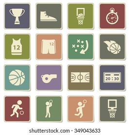 Basketball label icons for web