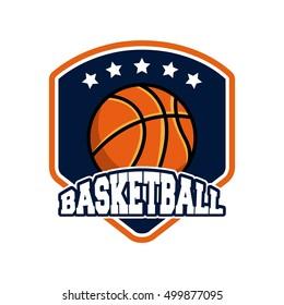 basketball league emblem classic vector illustration design