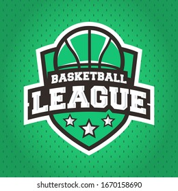 Basketball league logo design. Basketball league emblem template with basketball ball and shield. Trendy modern design. Perfect use for posters, banners, signs, design. Vector sport emblem template.