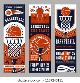 Basketball league tournament vector banners. Symbols of basketball sport team game as baskets on backboards, courts and ball, prize cup and playing field, sportive shoes and winning trophies leaflets