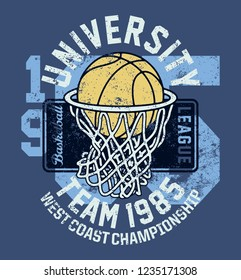 Basketball league university championship team  vintage vector print for t shirt grunge effect in separate layers