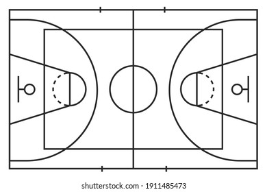 Basketball line court icon isolated on white background. American tradition sport. Outline simple flat design. Vector illustration.