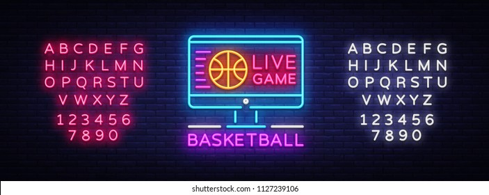 Basketball Live neon sign vector. Basketball Online Design template neon sign, light banner, neon signboard, modern trend design, bright advertising, light inscription. Vector. Editing text neon sign