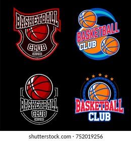 basketball logo emblem with dark background