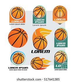 Basketball and logo set