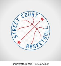 Basketball logo street court grunge emblem vector illustration