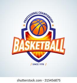 Basketball logo template, basketball logotype, badge logo design template, sport logotype template. Basketball Themed T shirt template. Vector illustration.