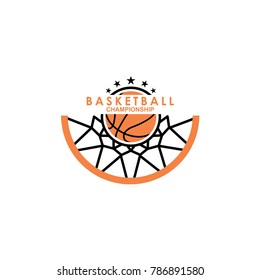 Basketball logo template vector, isolated on white background
