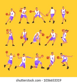 Basketball Male Player Vector. Playing With A Ball. Healthy Lifestyle.  Team Action Stickers. Cartoon Character Illustration
