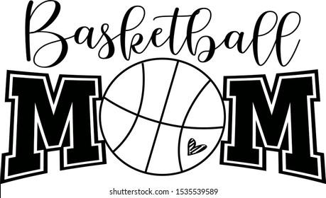 Basketball mom vector saying. Basketball ball silhouette illustration.