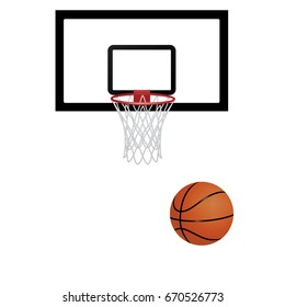 Basketball net and basketball ball. Basketball vector on white background