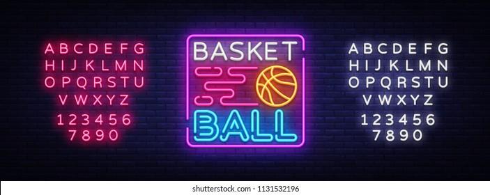Basketball Night Neon Logo Vector. Basketball neon sign, design template, modern trend design, sports neon signboard, night bright advertising, light banner, light art. Vector. Editing text neon sign