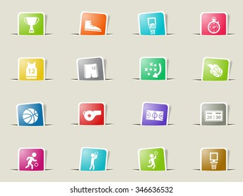 Basketball paper icons for web