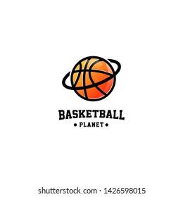 Basketball Planet Logo Design Vector