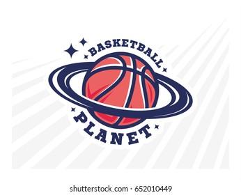 Basketball planet logo, emblem, designs on a light background