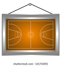 Basketball platform in a frame on a white background. Vector illustration