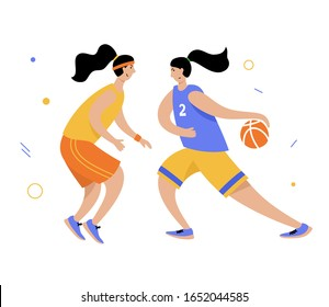 Basketball player with ball. Adult woman cartoon action character. Flat vector isolated illustration. Women's basketball championship poster, banner design