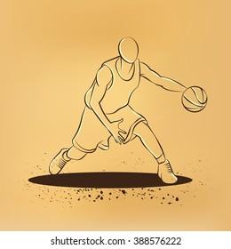 Basketball player with ball. Old paper drawing illustration.