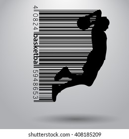 Basketball player in a barcode style. Background and text on a separate layer, color can be changed in one click