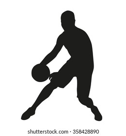 Basketball player crossover, vector silhouette