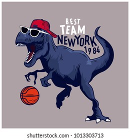 Basketball player dinosaur vector print. Funny t-shirt print for kids.