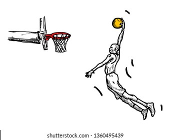 A basketball player doing a slam dunk. Hand drawn vector illustration.