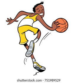 basketball player dribbling with ball