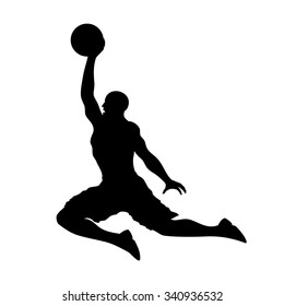 Basketball player dunking and scoring flat vector icon for apps and websites