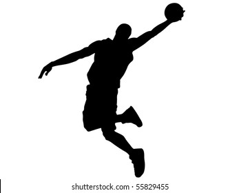 Basketball. The player in a jump. With a ball. Graphics. The Silhouette.