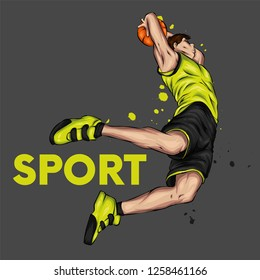 Basketball player jumping with the ball. A guy or a man in shorts and a t-shirt. Sport and basketball. Vector illustration.