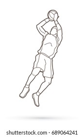 Basketball player jumping and prepare shooting a ball outline stroke graphic vector