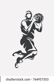basketball player jumping stylized vector silhouette, logo template in outlined sketch style