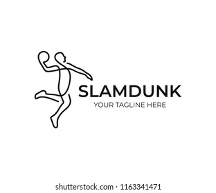 Basketball player logo design. Slam dunk vector design. Streetball logotype
