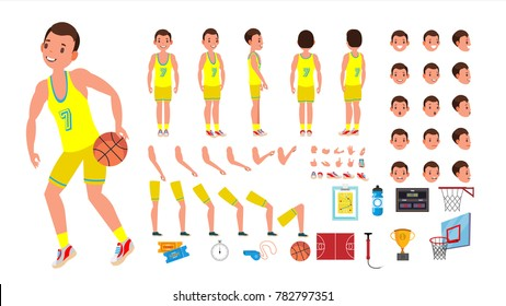 Basketball Player Male Vector. Animated Character Creation Set.  Basketball Player Man. Full Length, Front, Side, Back View, Accessories, Poses, Face Emotions. Isolated Flat Cartoon Illustration