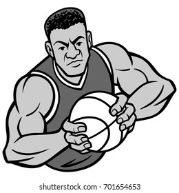 Basketball Player Offense Pose Illustration