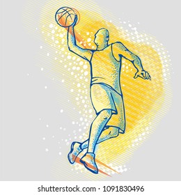Basketball player on a graphic background
