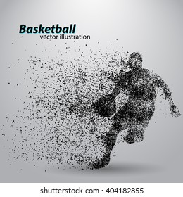 Basketball player of Particle. Background and text on a separate layer, color can be changed in one click