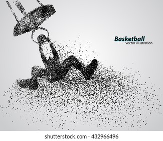 Basketball player of particle. Background and text on a separate layer, color can be changed in one click. Basketball player