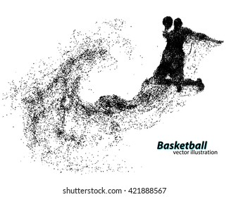 Basketball player of Particle. Text on a separate layer, color can be changed in one click