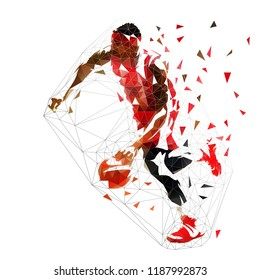 Basketball player in red jersey running and dribbling with ball, isolated low polygonal vector illustration. Side view. Team sport