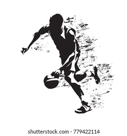 Basketball player running with ball, grungy vector silhouette