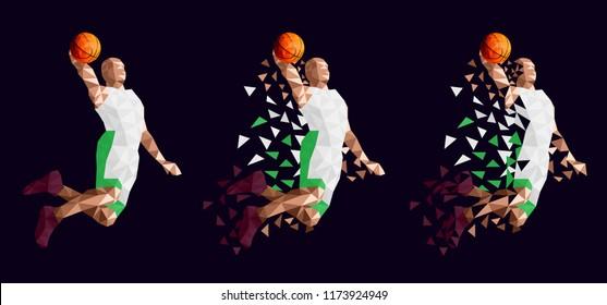 Basketball player set Arabia abstract design
