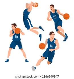 Basketball player set, isolate on white background