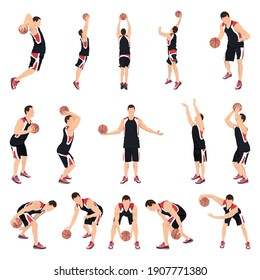 Basketball player set, vector isolated illustration. Professional athletes dribbling, bouncing, passing, shooting the ball jumping in the air. Basketball crossover dribbling, free throw, slam dunk.