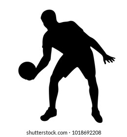 basketball player silhouette with a ball on a white background, vector