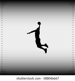 Basketball player silhouette flat vector icon.