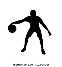 Basketball player silhouette isolated on a white background. Vector stock illustration of a sportsman with a basketball ball. Dribbling athlete in power forward position.