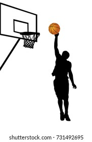 Basketball player silhouette on white background, vector illustration