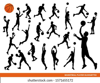Basketball player silhouettes isolated on a white background. Vector stock illustration of a sportsman with a basketball ball. Running and jumping athlete in power forward and point guard positions.